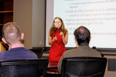 Dr. Russ emphasizes a point at her seminar in Blacksburg
